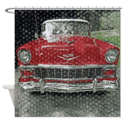 car shower curtain classic red fifties car shower curtain by rebeccakorpita