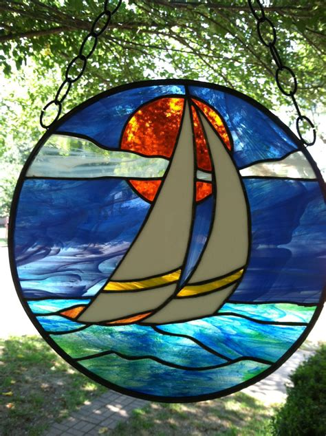 Sailboat Windows Designs Sailboat Stained Glass Window Suncatcher Large 15
