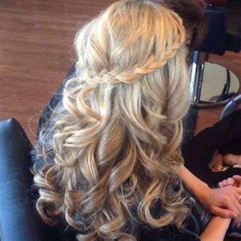wedding hairstyles braids curls waterfall braid with loose curls special event hair