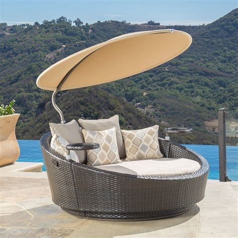 Top Outdoor Wicker Patio Furniture Round Canopy Bed Daybed