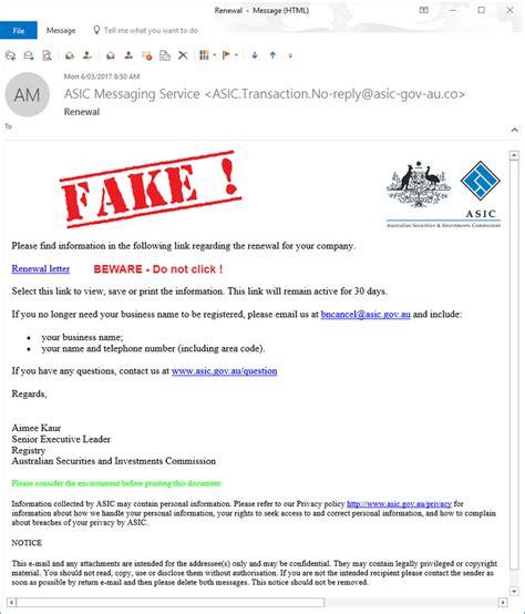 email fake fake asic business name renewal phishing emails