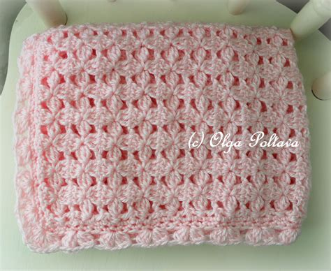 lacy crochet pink clusters baby afghan