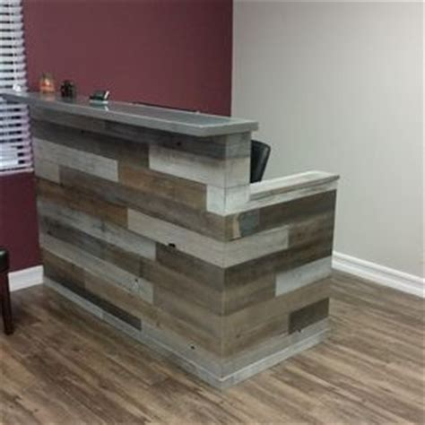 reclaimed wood front desk reception desks for offices custom reception counters