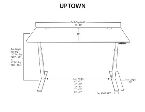 stand up desk dimensions thermodesk uptown standing desk