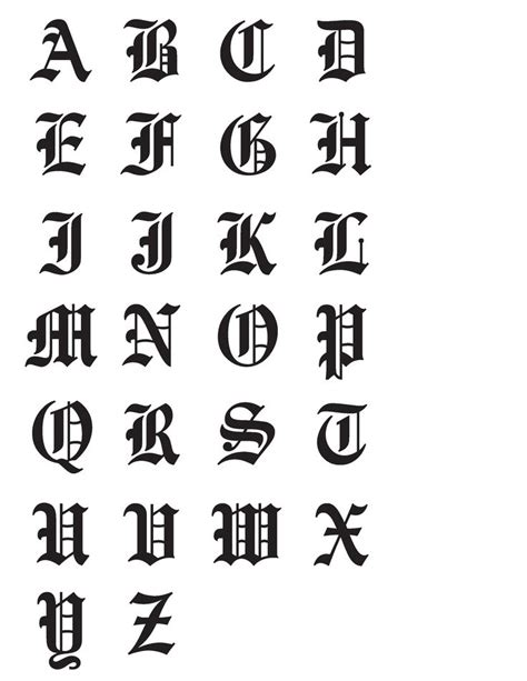 lowercase tattoo font old english need to find a good chart for the lowercase