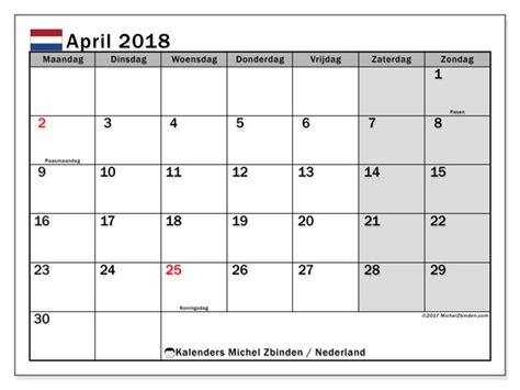 Kalender 2018 April Mai Kalender April 2018 Nederland