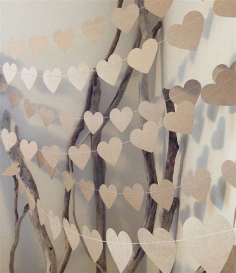 heart home decor 3 metres large natural shabby chic heart garland home decor