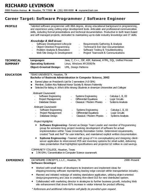 Resume Template For Software Developer image software developer resume sle