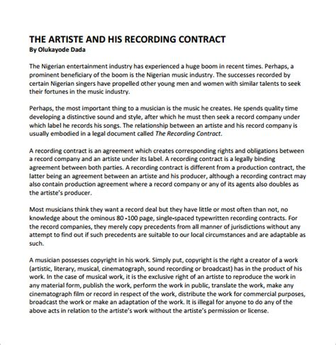 recording contract template 9 download free documents