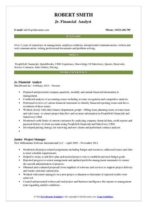 junior financial analyst resume sles qwikresume