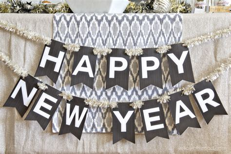 printable new years banner new year s eve printable set yellow bliss road
