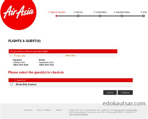 airasia online check in pengalaman web check in maskapai airasia indonesia