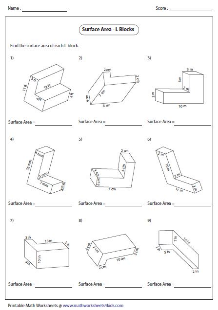 Volume Of Shapes Worksheet by Search Results For Surface Area Worksheets With Nets