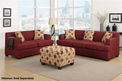fabric sofa and loveseat poundex montreal f7963 f7962 red fabric sofa and loveseat