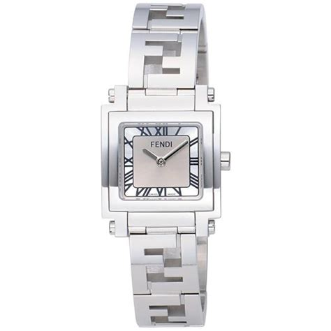 2014 fendi quadro womens wrist silver gray