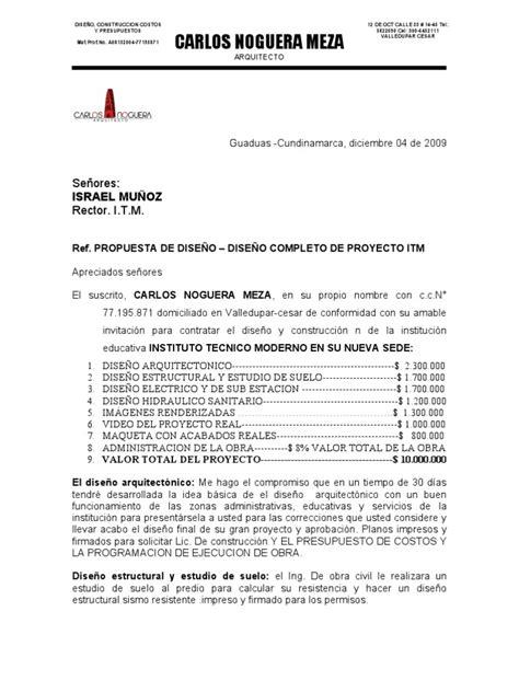 carta de presentacion para propuesta economica carta de presentacion propuesta itm