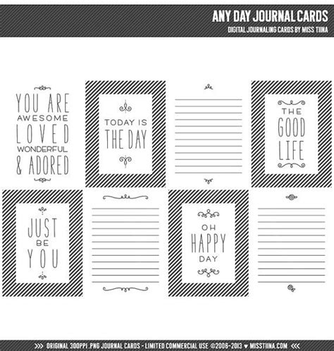 3x4 Note Card Template by Any Day Digital Journal Cards 3x4 Project Inspired