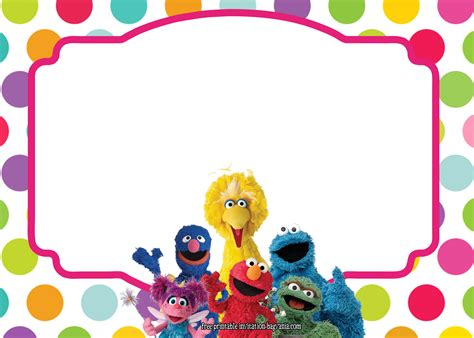 sesame templates sesame all characters invitation template