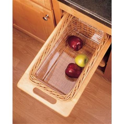 rev a shelf woven basket with rails in standard size kitchensource com rev a shelf 11 in rattan basket with rails and clear