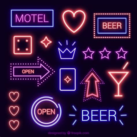 variety of neon light signs vector free download