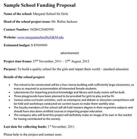 writing a for funding template school funding