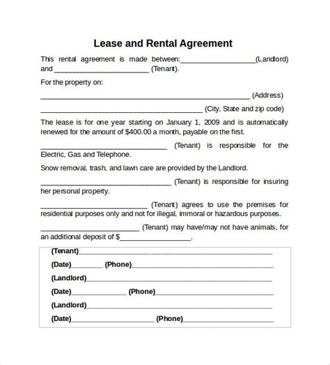rental property lease template sle rental lease agreement 9 free documents in pdf word