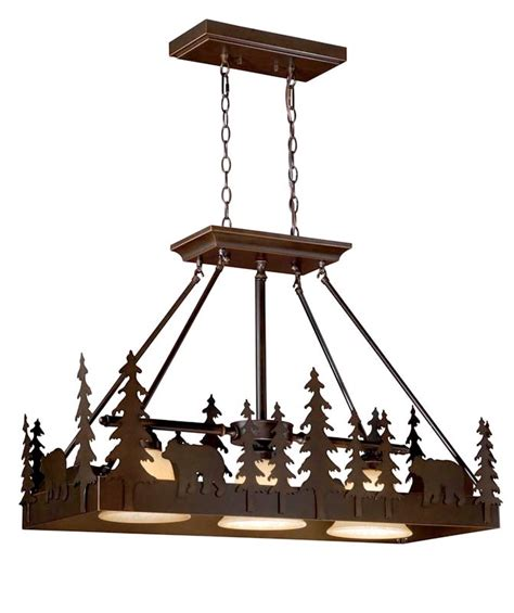 Cabin Pendant Lights 36 Quot Island Pendant Burnished Bronze Rustic Cabin Lighting