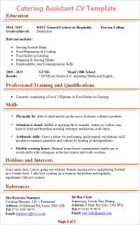 Resume References Format by Catering Assistant Cv Template 2