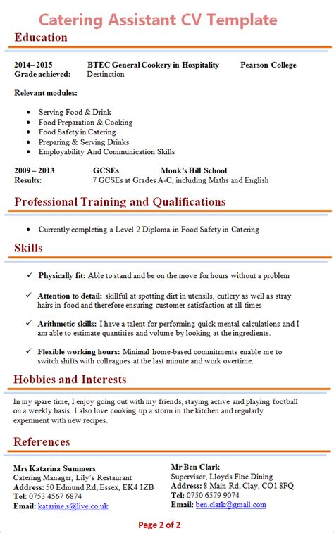 catering assistant cv template 2