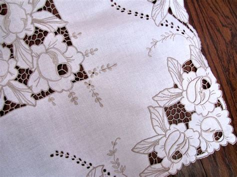 tablecloth 169 vintage linen tablecloth handmade lace