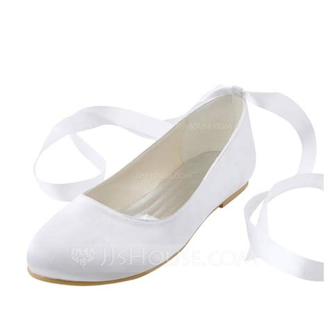 1 998 Flat Shoes Fashion Ribbon s silk like satin flat heel flats with ribbon tie 047114305 wedding shoes jjshouse