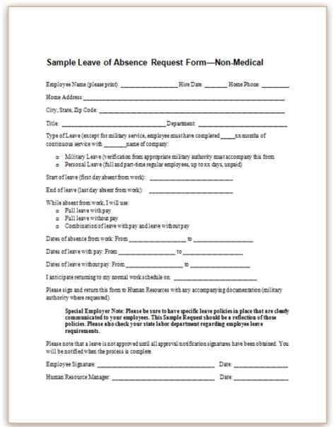leave of absence request form template sle leave of absence form choice image cv