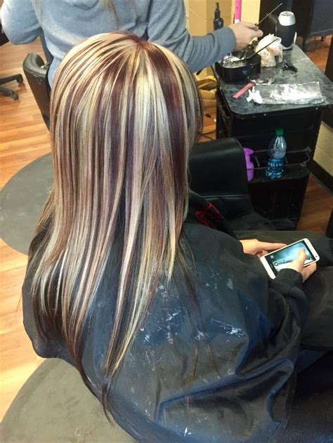 how to highlight hair underneath mocha brown underneath with red violet and blonde chunky