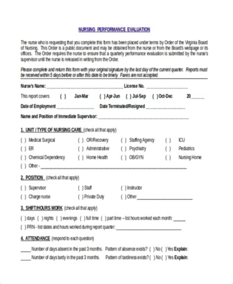 Evaluation Letter For Nurses performance evaluation exles 8 free documents in pdf doc