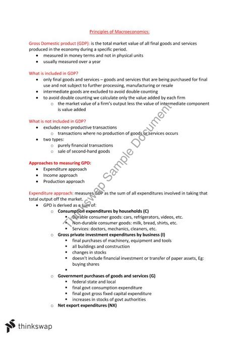 Macroeconomics Notes For Mba Pdf by Principles Of Macroeconomics Notes Ecc1100 Principles