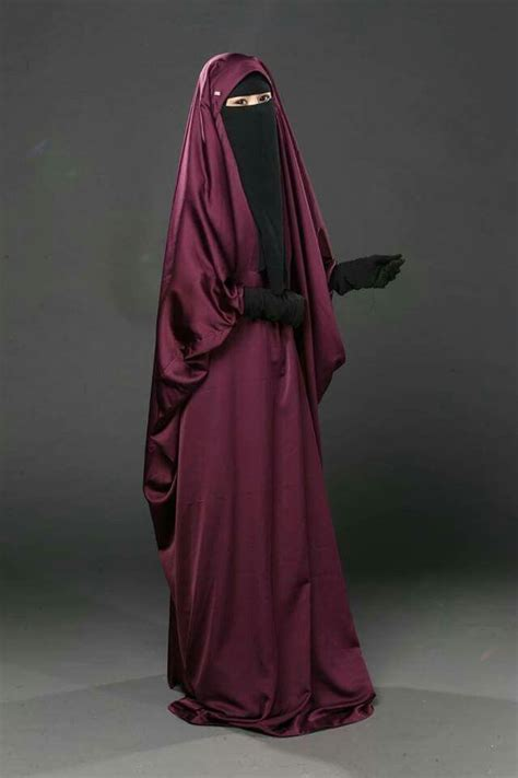 Muslim Maroon maroon jilbab with niqab and gloves hijablove