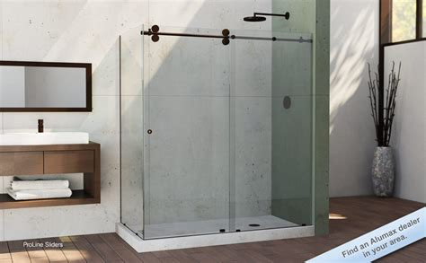 Alumax Frameless Shower Doors Minimalist Bathroom With Frameless Sliding Alumax Shower Doors Rubbed Bronze And