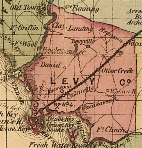 rosewood florida map levy county 1874