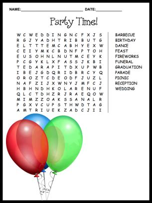 printable word games for parties party time word search puzzle