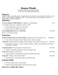 Phlebotomist Resume Objective by Resume Exle 2016 Phlebotomy Resume Exles Phlebotomy Resume Sle No Experience Entry