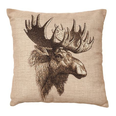 Rustic Bedding: Vintage Moose Burlap Pillow Black Forest Decor