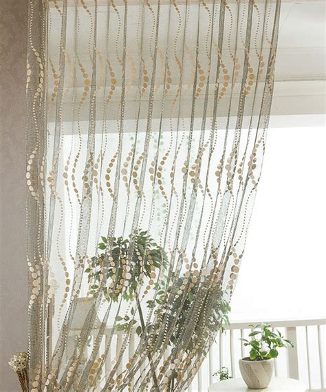 Khaki Jacquard Net Sheer Curtain Voile Panel One Custom Made