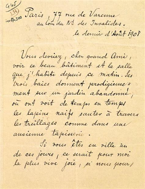 Exemple De Lettre Epistolaire Lettre De Rainer Rilke 224 Auguste Rodin Mus 233 E Rodin
