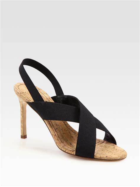 Sandal Elastis Black manolo blahnik elastic criss cross slingback sandals in black lyst