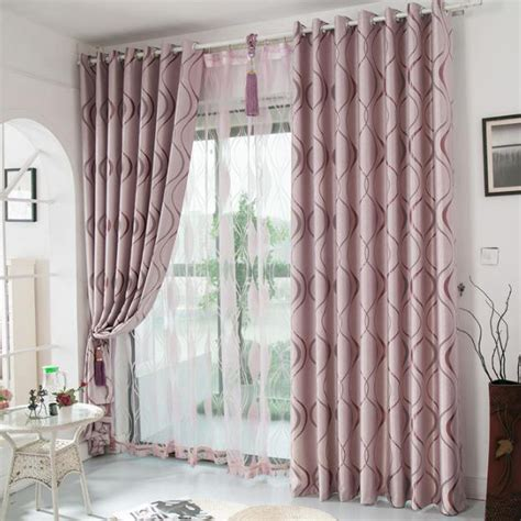 Bedroom Curtains On Sale Pink Geometric Jacquard Polyester Insulated Bedroom
