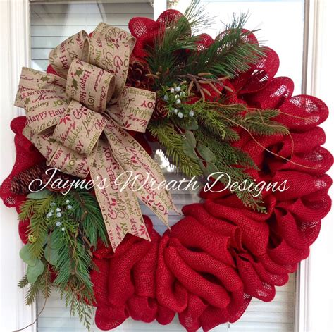 christmas wreath ideas red burlap christmas wreath pinteres