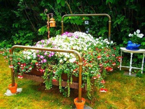 flowers for garden beds recycling metal bed frames for flower beds 20 creative and eco friendly backyard ideas
