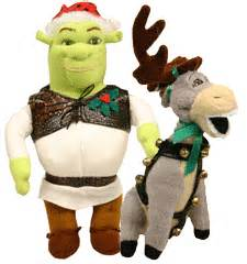shrek and donkey plush christmas ornament set