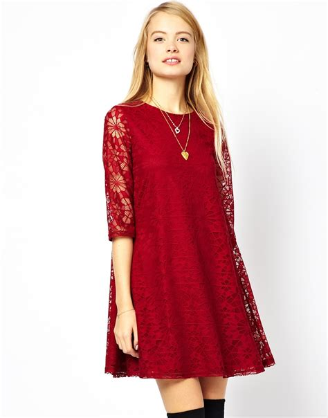 lace swing dress asos swing dress in lace with half sleeve in red lyst