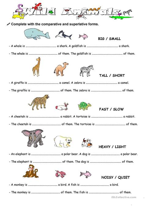 esl le comparison with animal worksheet free esl printable
